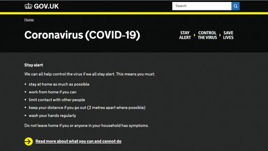 Covid-19-site Britse overheid
