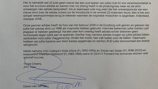 Brief van der sar