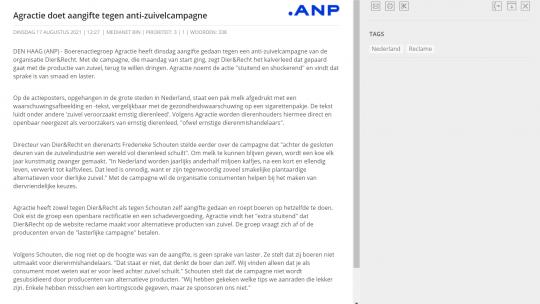 Het redactionele stuk van ANP over de aangifte tegen Dier&Recht