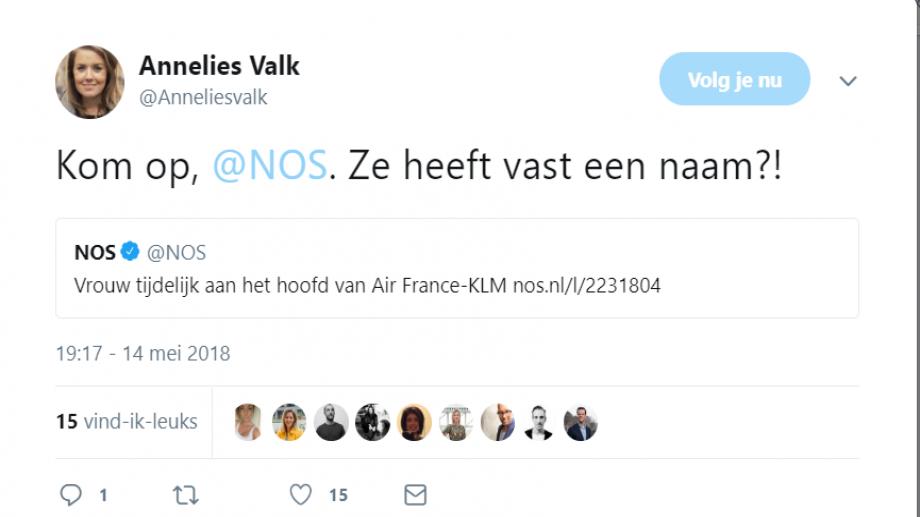 Tweet over bericht NOS