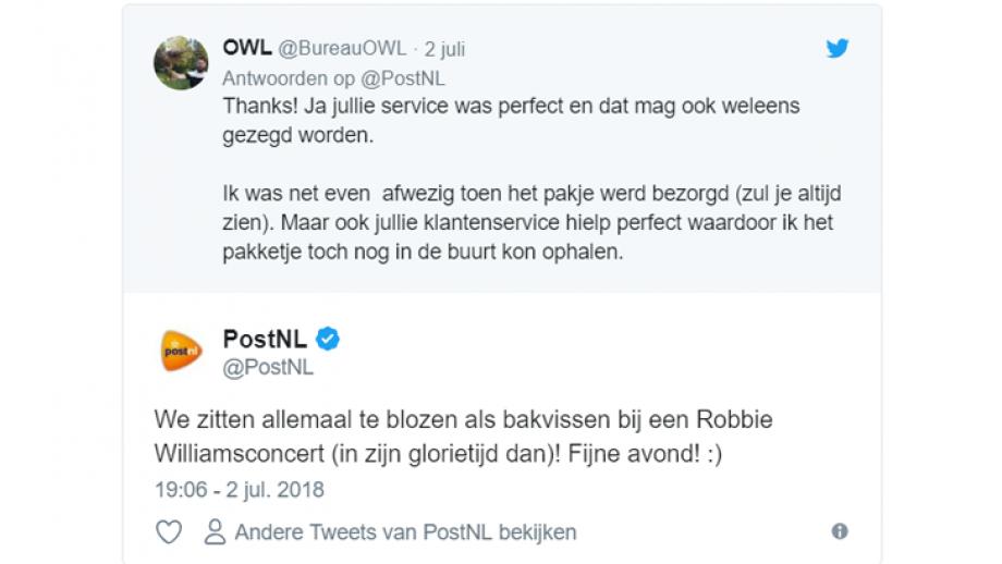 Complimentje voor PostNL