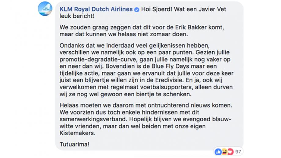 KLM reactie 1
