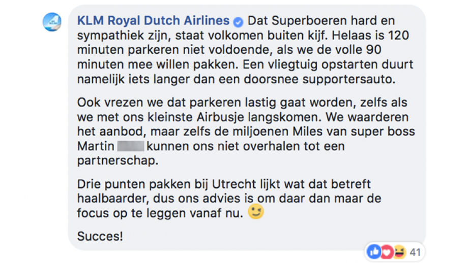 KLM reactie 2