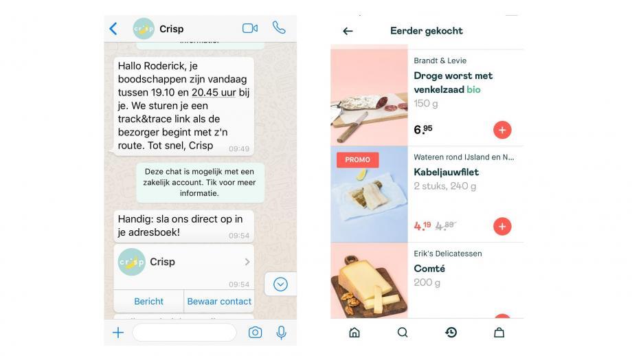Appje van Crisp (links) en bestellingen in de Crisp-app