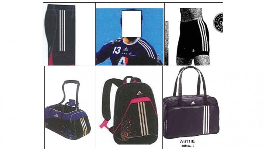 Voorbeelden bewijs adidas: witte strepen geen bewijs bekendheid beeldmerk, bovenaan met zwarte strepen
