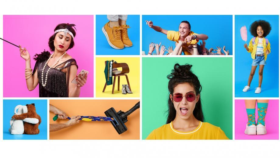 Collage beelden met vrolijke kleuren