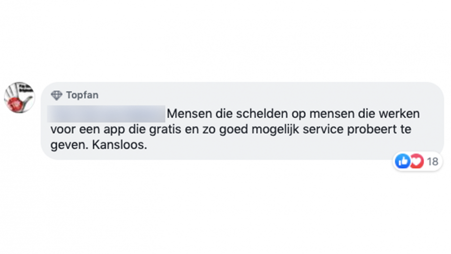 Facebook reactie schelden