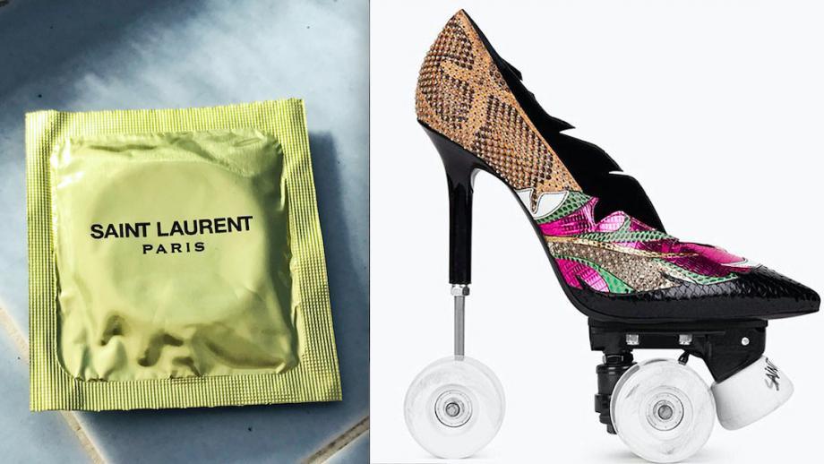 Saint Laurent-condoom en rollerskate-heels à $2600