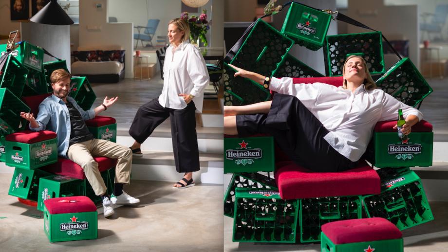 De 'ster' van de nieuwe campagne: het Heineken krat