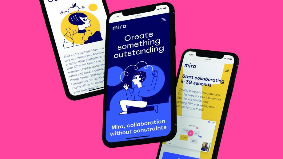Vruchtvlees - Miro: de rebranding van dit samenwerkingsplatform werd in drie maanden tijd afgerond, waarbij in het maakproces de tijdzones en plaatsgebondenheid vervaagden.