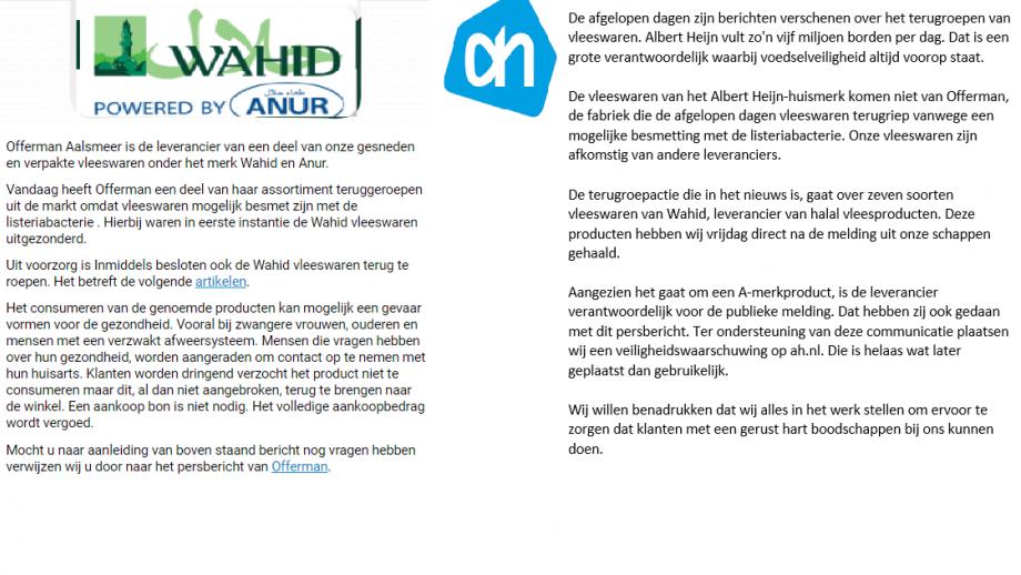 reacties wahid en ah