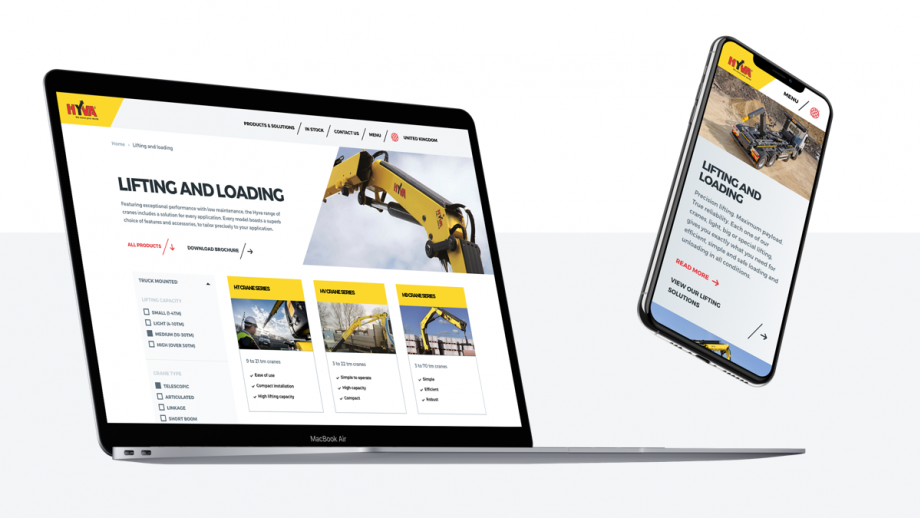 Weergave nieuwe website Hyva (laptop en telefoon)