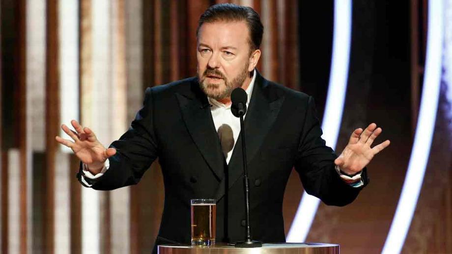 Ricky Gervais tijdens de Golden Globes 2020