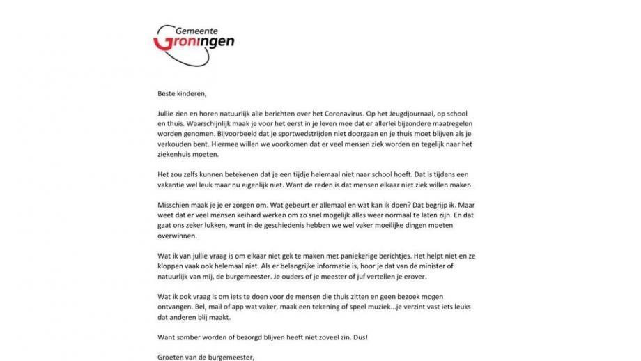 de brief van de burgemeester