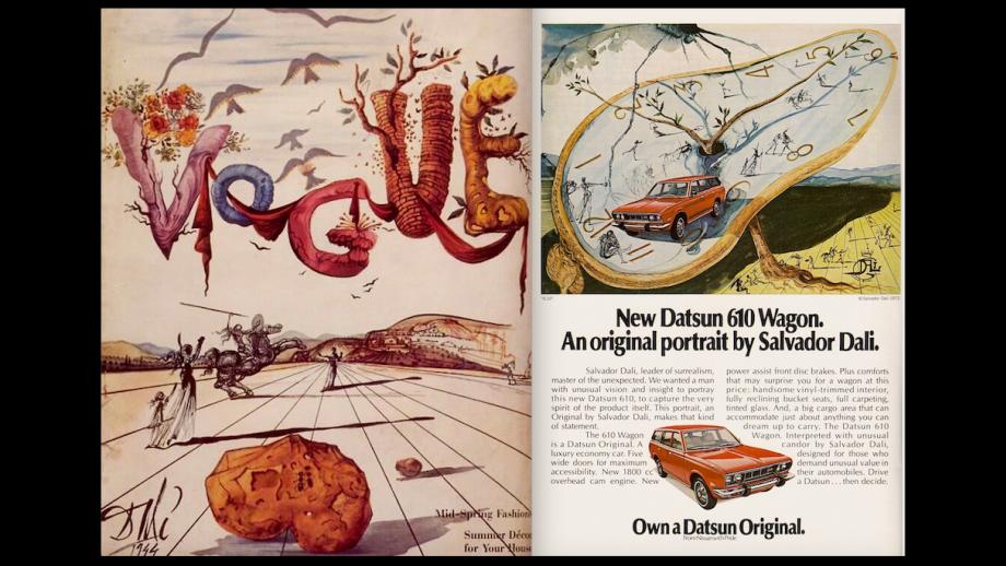 Salvador Dalí, cover voor Vogue en ad voor Datsun