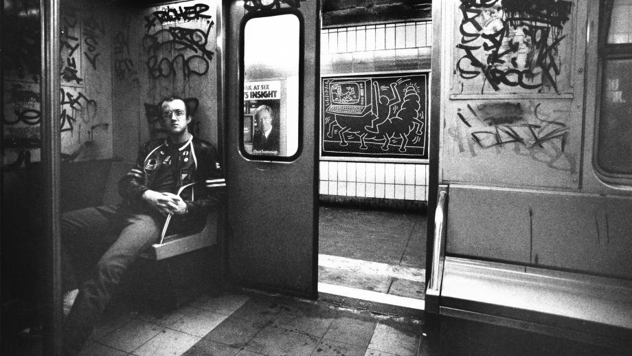 """Keith Haring in subway car"", Tseng Kwong Chi, 1983, Dazed & Confused"