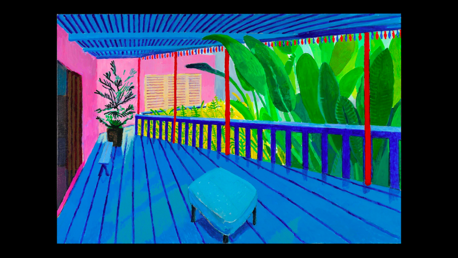 """Garden with Blue Terrace"", David Hockney, 2015"