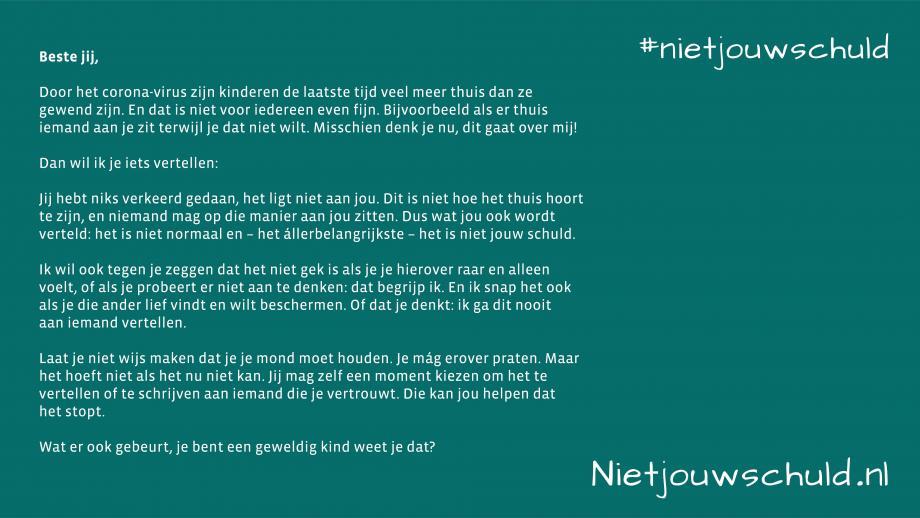 Uitleg brief #nietjouwschuld