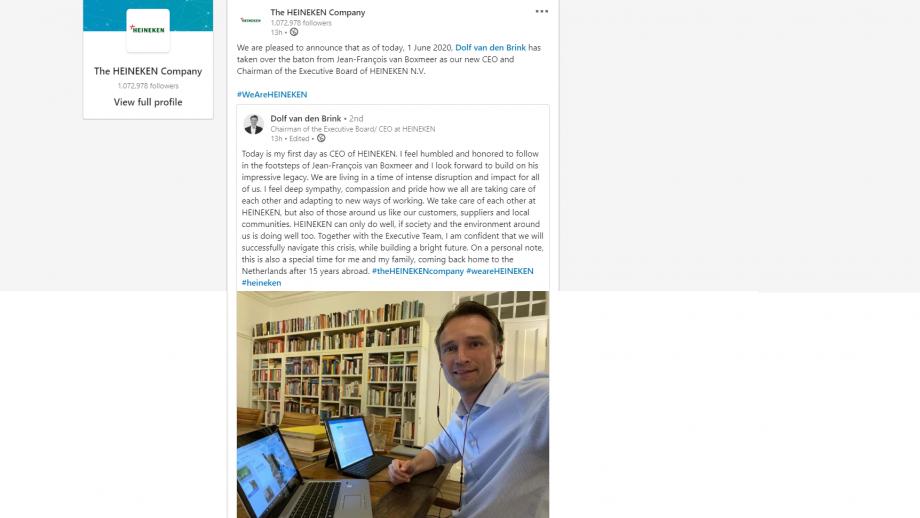 LinkedIn-bericht Dolf van den Brink