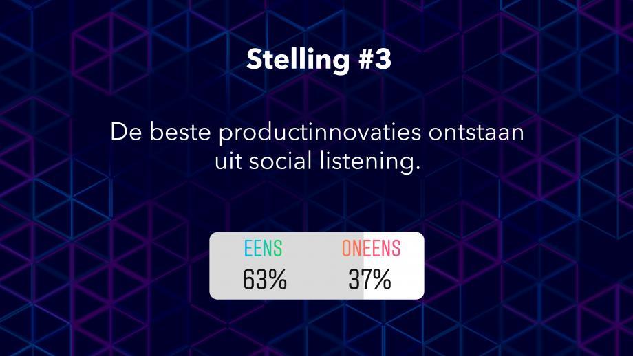 Uitslag stelling 3: De beste productinnovaties ontstaan uit social listening.