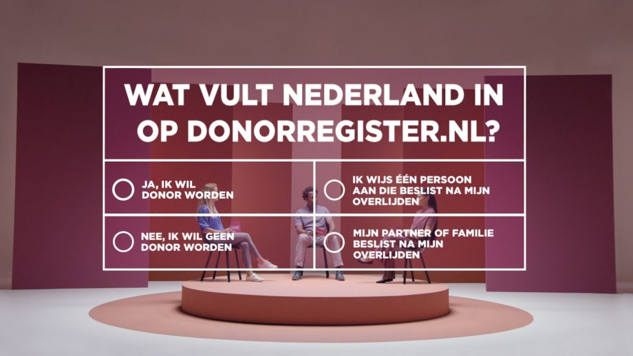 Nieuwe campagne Donorregister: 'wat vult Nederland in?'