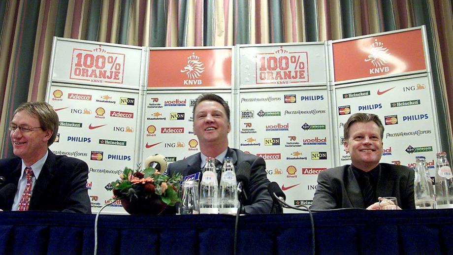 Rob de Leede met Louis van Gaal en Mark Wotte