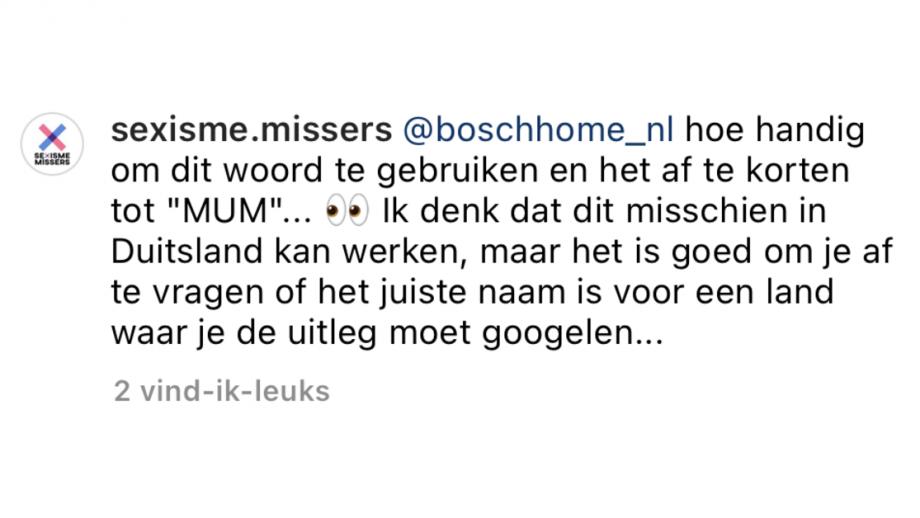 Sexisme missers reageert op Bosch