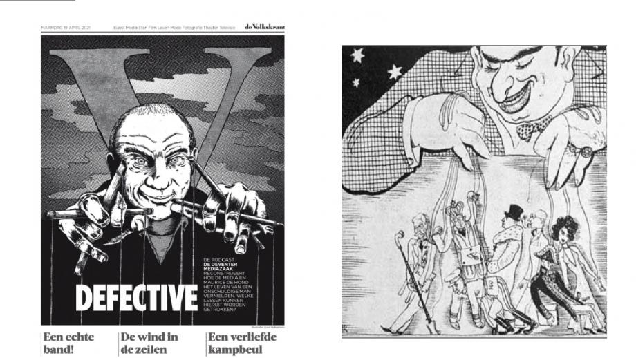 Links de illustratie in De Volkskrant, rechts de antisemitische 'puppet master-cartoon'