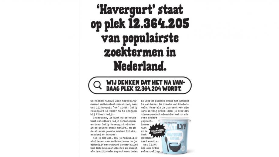 De advertentie voor Havergurt naturel van Oatly