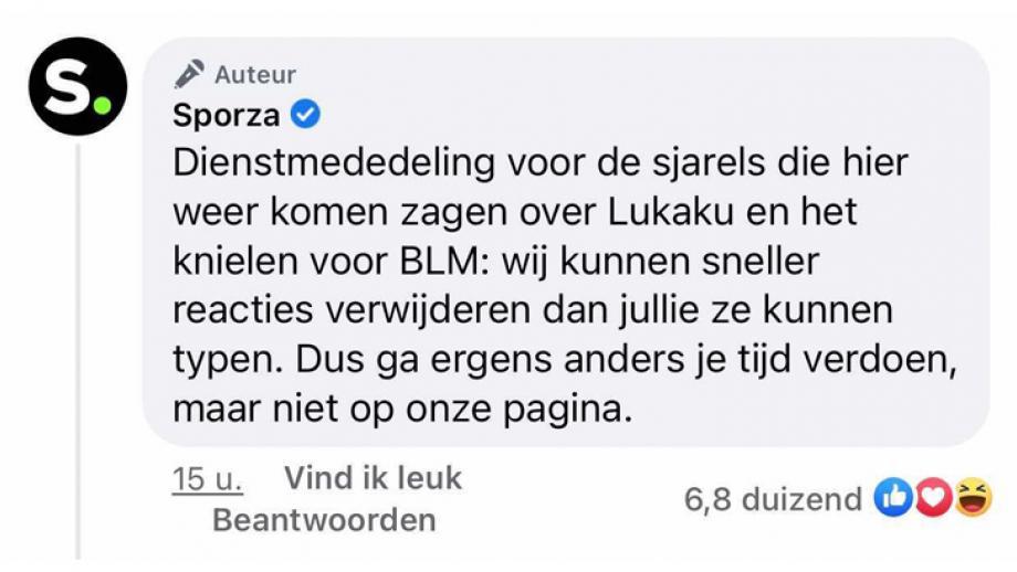 Dienstmededeling van Sporza voor de sjarels die hier weer komen zagen ove Lukaku en het knielen voor BLM, ze kunnen reacties sneller verwijderen dan anderen kunnen schrijven.