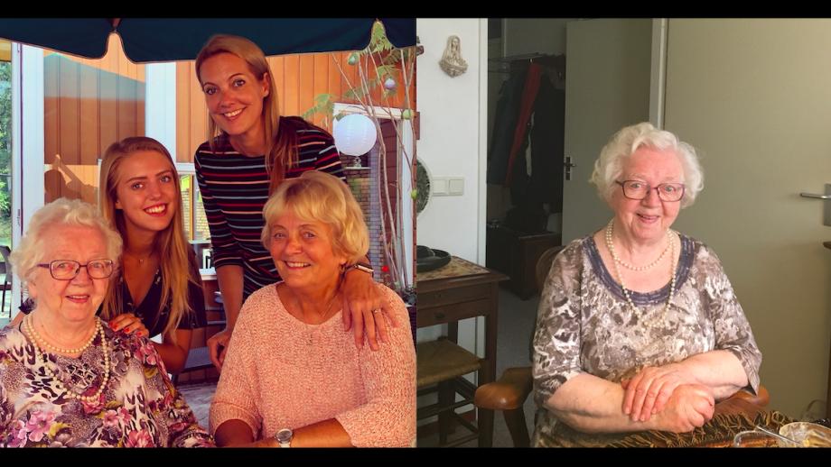 Vier generaties vrouwen in de familie van Yvonne, met Gonnie linksonder en solo