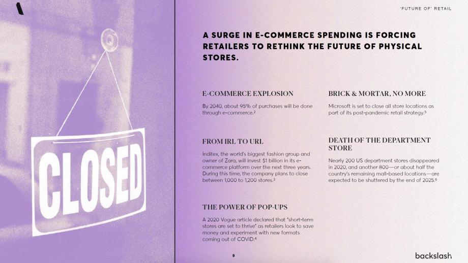 Voorbeelden van inzichten rondom Flex Retail. In 2040 wordt 95 procent (!) van de aankopen online gedaan.