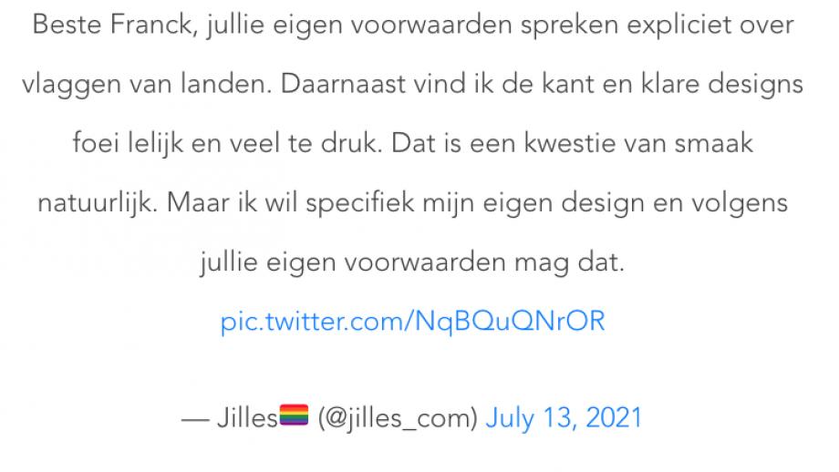 Jilles wijst ING erop dat een pride vlag mag