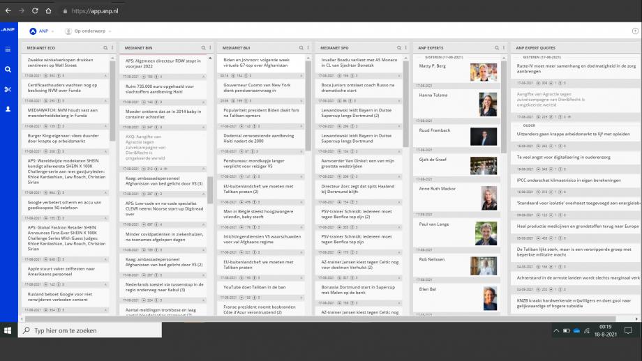 De ANP-feed, met prominent in de rechterkolommen de experts en hun quotes