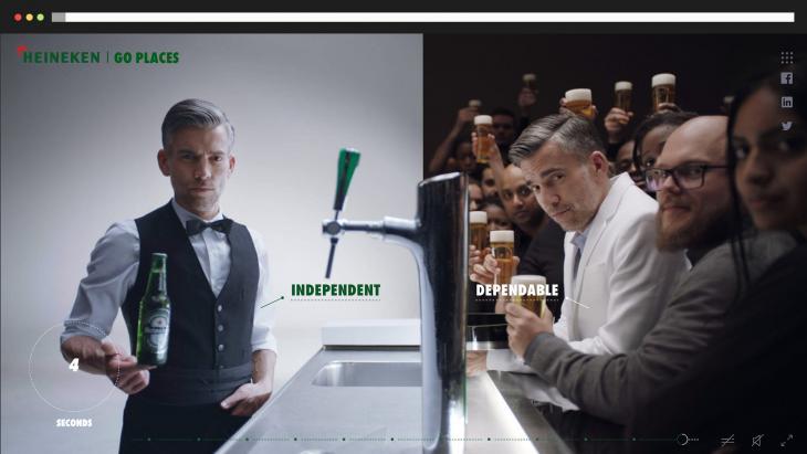 Heineken maakt in externe campagne Go Places gebruik van eigen medewerkers.