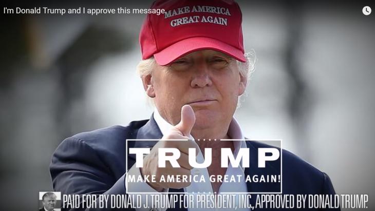 Een 'approved' advertentie voor de campagne van Donald Trump