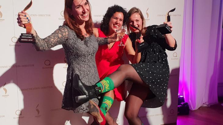 v.l.n.r. Sonja Wagenaar, Esther van der Linde en Astrid Kouwenhoven van HvdM