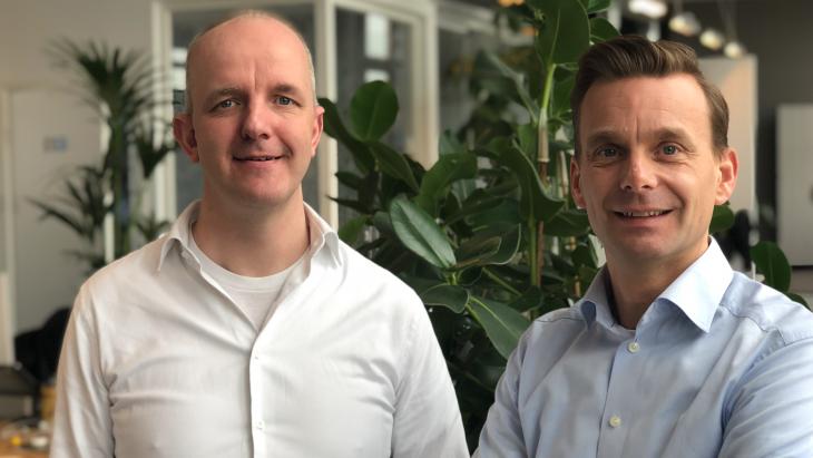 Jeroen Elfferich (ceo Ex Machina Group, links) en Ralf Verhoef (ceo Angry bytes)