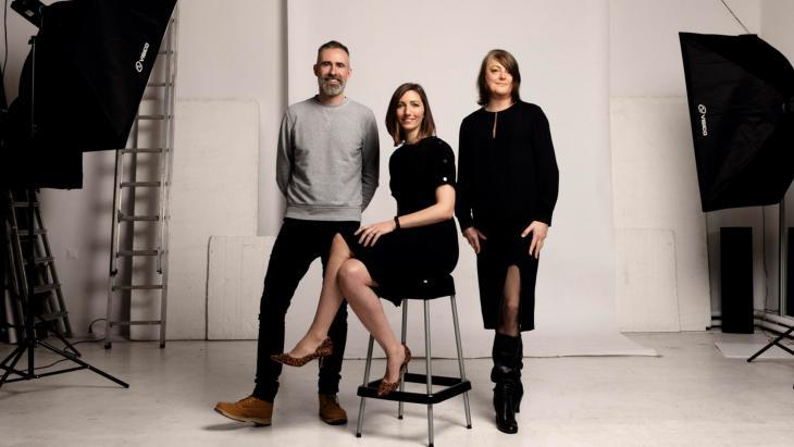 Het leidende trio, v.l.n.r. Nick Bailey, Sarah Taylor en Kerrie Finch