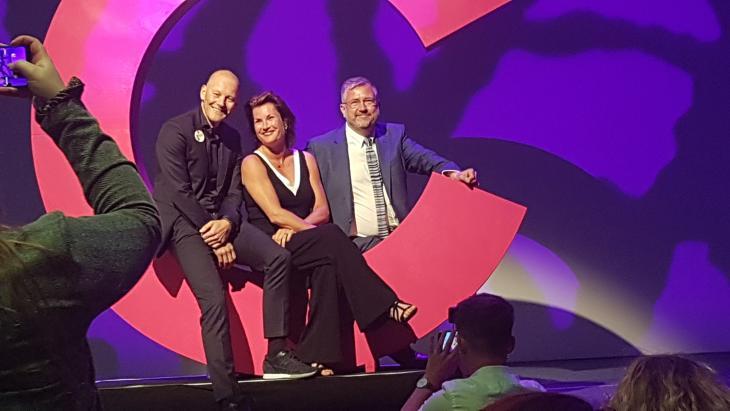 Arnold Drijver (Hema), Annette Reijersen van Buuren (CPNB) en Bart Scholten (Zaandam)