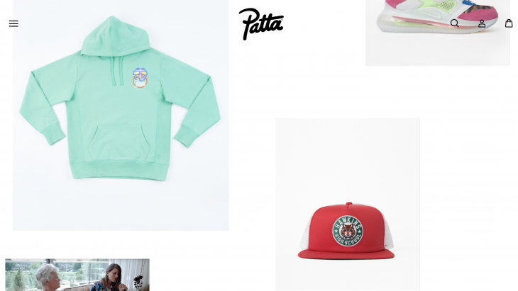 Screenshot van de website van Patta.