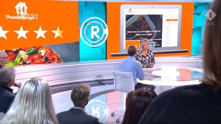 Verhit gesprek tussen Antoinette en Thuisbezorgd.nl bij Radar (still uit YouTube-video)