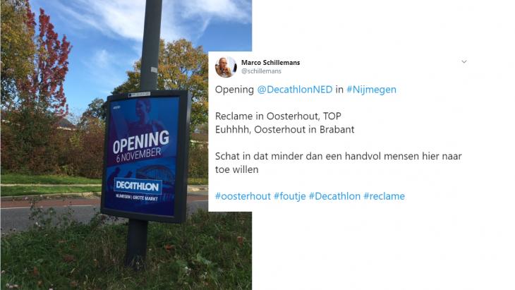 Tweet met de 'Oosterhoutse poster' van Decathlon