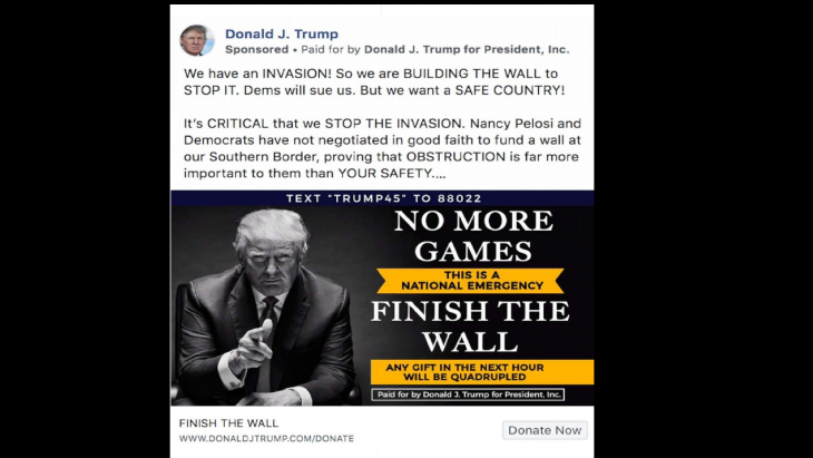 Een omstreden Facebook-advertentie van Donald Trump