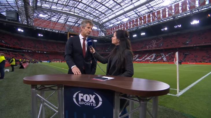 Edwin van de Sar legt bij Fox Sport uit waarom Ajax naar Quatar afreist, een veel bekritiseerd interview.