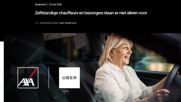 Artikel in newsroom Uber waarin het een verzekering introduceert voor zijn 'partners' ofwel 'zelfstandige chauffeurs'