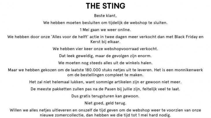 The Sting sluit de webwinkel