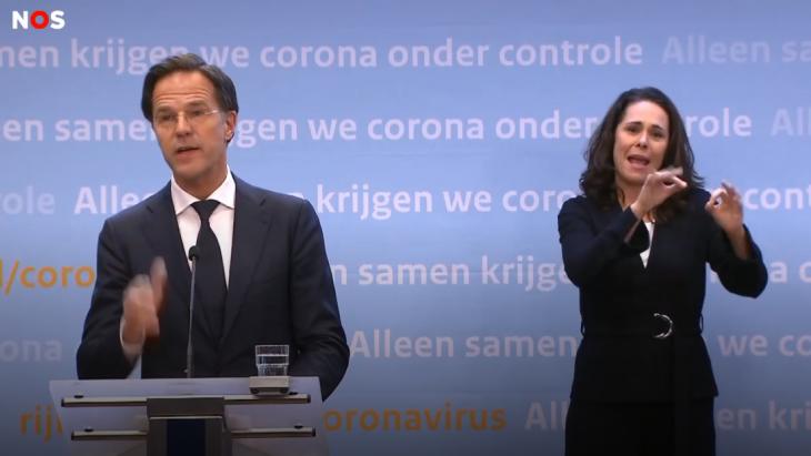 Premier Mark Rutte tijdens de persconferentie