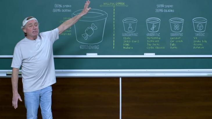 Greg Glassman tijdens een verhandeling over het coronavirus in een video van CrossFit