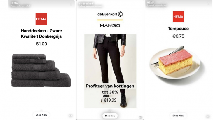 HEMA en Bijenkorf starten als eerste Nederlandse bedrijven met Dynamic Ads op Snapchat